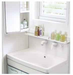 窓があって設置しにくい部分にも設置可能な洗面化粧台(オプション)